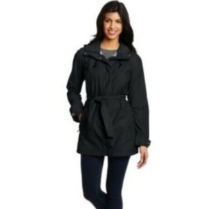 Columbia Black Nylon Belted Hooded My Trench coat